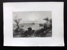 Bartlett America C1840 Antique Print. Saratoga Lake